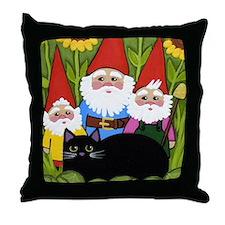 Black CAT Sunflowers Garden Gnomes Throw Pillow