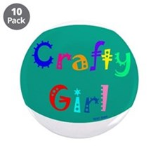 "Crafty Girl 3.5"" Button (10 pack)"