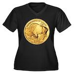 Gold Buffalo Women's Plus Size V-Neck Dark T-Shirt