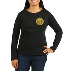 Gold Indian Head Women's Long Sleeve Dark T-Shirt
