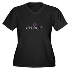 Reiki for Life Women's Plus Size V-Neck Dark T-Shi