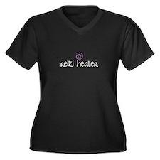 Reiki Healer Women's Plus Size V-Neck Dark T-Shirt