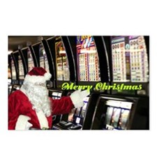 Las Vegas Santa Slot Player Christmas Postcards 8