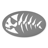 Pirate Fish Oval Stickers