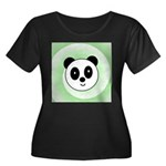 PANDA BEAR Women's Plus Size Scoop Neck Dark T-Shi
