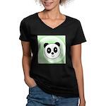 PANDA BEAR Women's V-Neck Dark T-Shirt