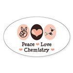 Peace Love Chemistry Oval Sticker