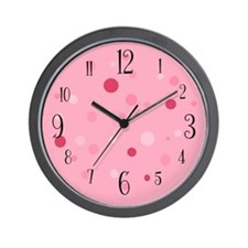 Numbered Pink Polka Dot Wall Clock