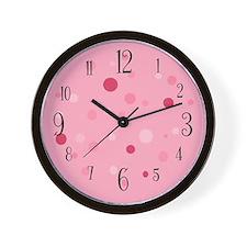 Numbered Pink Polka Dot Wall Clock