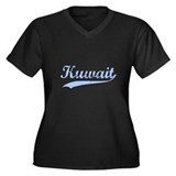 Vintage Kuwait Retro Women's Plus Size V-Neck Dark