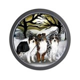 AUSTRALIAN SHEPHERD DOGS FALL Wall Clock