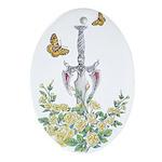 Sword & Rose Oval Ornament