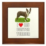 I Love My Boston Terrier Framed Tile