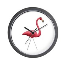 Retro Pink Flamingo Wall Clock