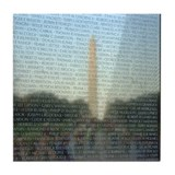 Washington Monument in Vietnam Wall Tile Coaster