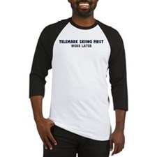 Telemark Skiing First Baseball Jersey