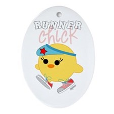 Runner Chick Oval Ornament