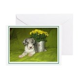 N Mrl Pup Flowers Greeting Cards (Pk of 10)