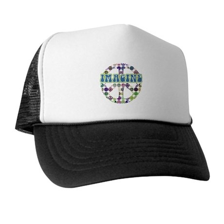 Retro Peace Sign Imagine Trucker Hat