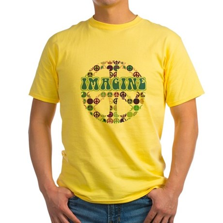 Retro Peace Sign Imagine Yellow T-Shirt