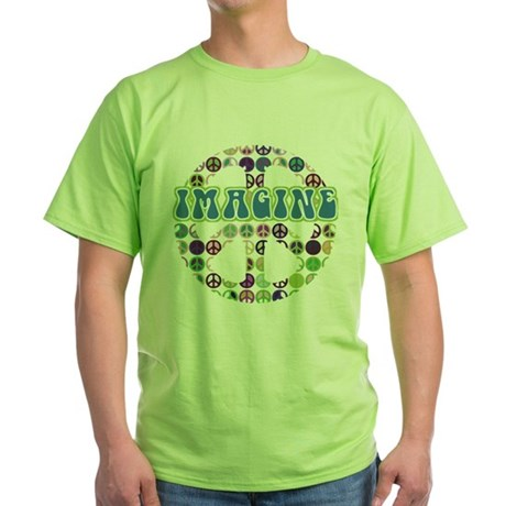 Retro Peace Sign Imagine Green T-Shirt