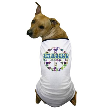 Retro Peace Sign Imagine Dog T-Shirt