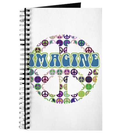 Retro Peace Sign Imagine Journal