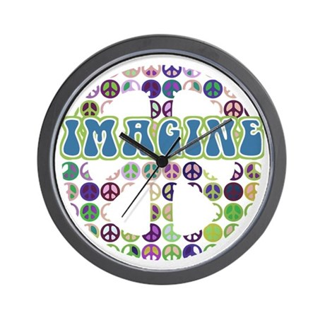 Retro Peace Sign Imagine Wall Clock