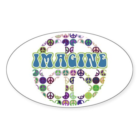 Retro Peace Sign Imagine Oval Sticker