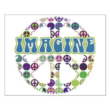 Retro Peace Sign Imagine Small Poster
