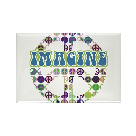 Retro Peace Sign Imagine Rectangle Magnet (100 pac