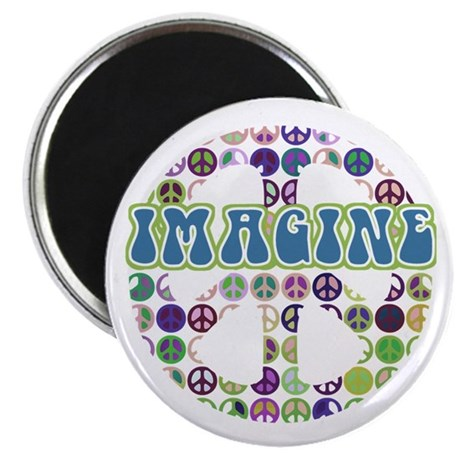 "Retro Peace Sign Imagine 2.25"" Magnet (10 pack)"