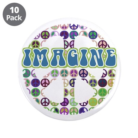 "Retro Peace Sign Imagine 3.5"" Button (10 pack)"