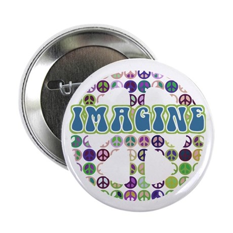 "Retro Peace Sign Imagine 2.25"" Button (10 pack)"