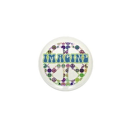 Retro Peace Sign Imagine Mini Button (10 pack)