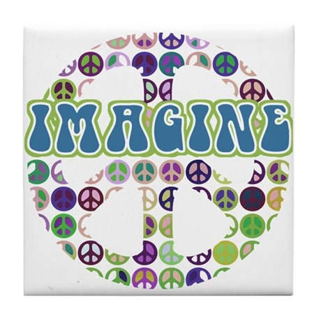 Retro Peace Sign Imagine Tile Coaster