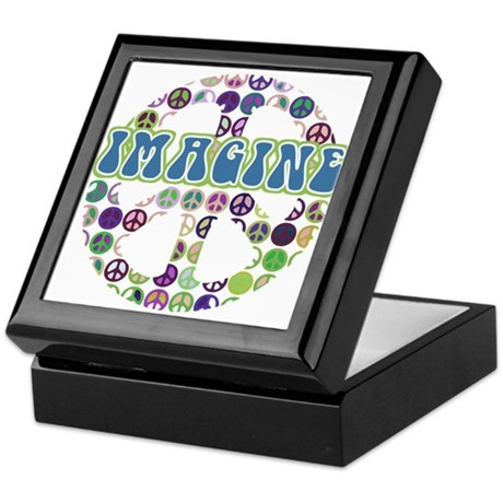Retro Peace Sign Imagine Keepsake Box