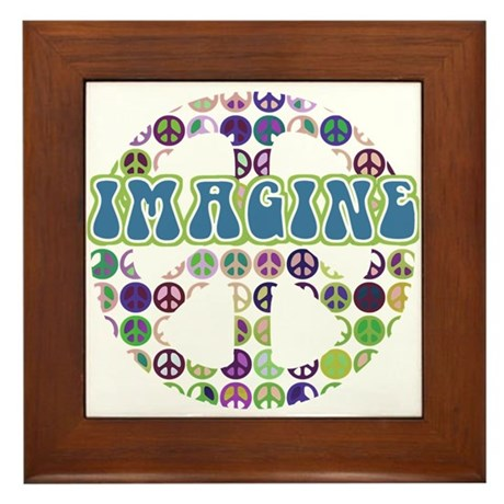Retro Peace Sign Imagine Framed Tile