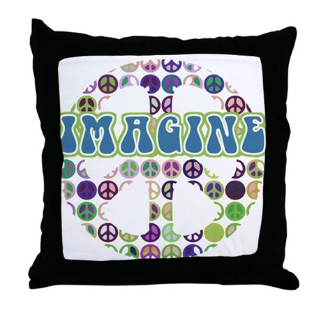 Retro Peace Sign Imagine Throw Pillow