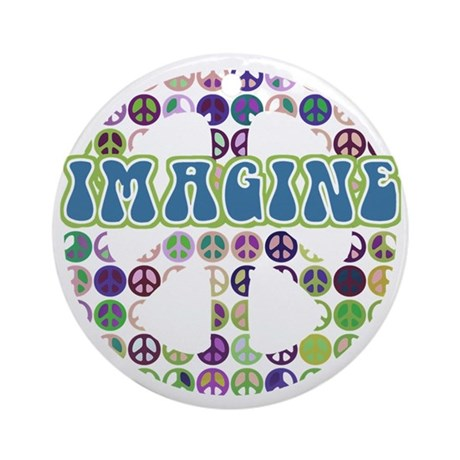 Retro Peace Sign Imagine Ornament (Round)