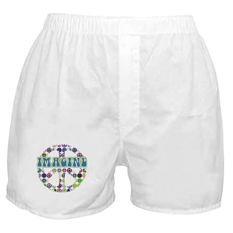 Retro Peace Sign Imagine Boxer Shorts