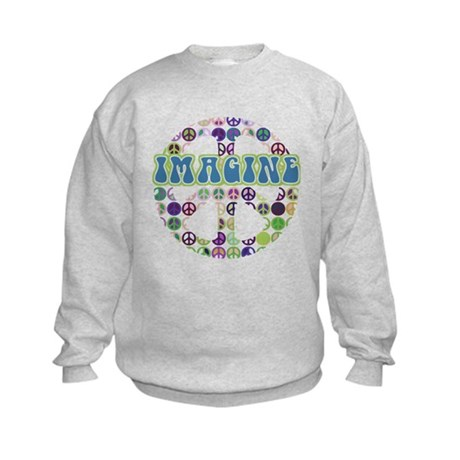 Retro Peace Sign Imagine Kids Sweatshirt