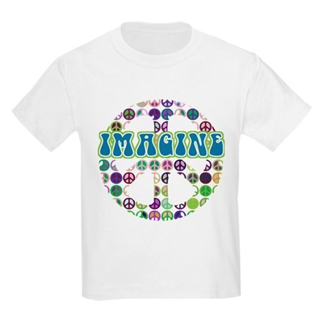 Retro Peace Sign Imagine Kids Light T-Shirt