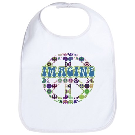 Retro Peace Sign Imagine Bib