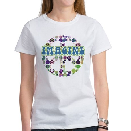 Retro Peace Sign Imagine Women's T-Shirt