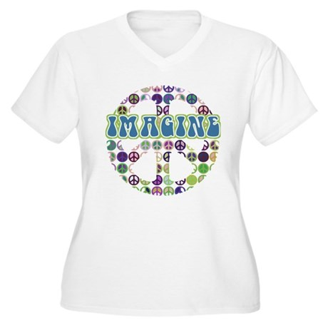 Retro Peace Sign Imagine Women's Plus Size V-Neck