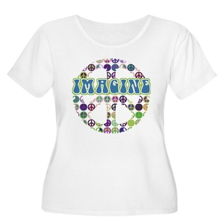 Retro Peace Sign Imagine Women's Plus Size Scoop N