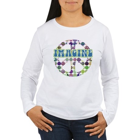 Retro Peace Sign Imagine Women's Long Sleeve T-Shi