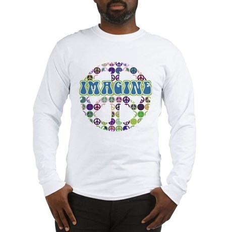 Retro Peace Sign Imagine Long Sleeve T-Shirt