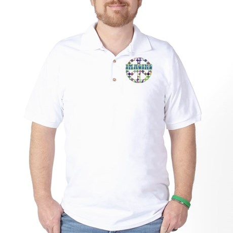 Retro Peace Sign Imagine Golf Shirt